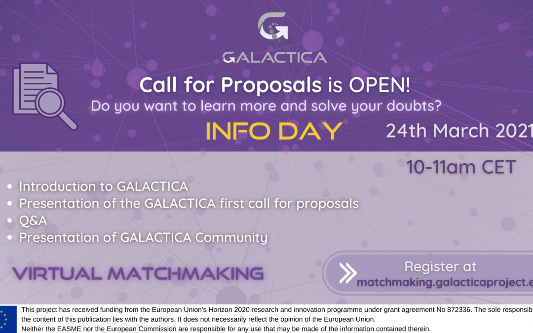 GALACTICA organized the Info Day for the first call for proposals together with its 1st Matchmaking event